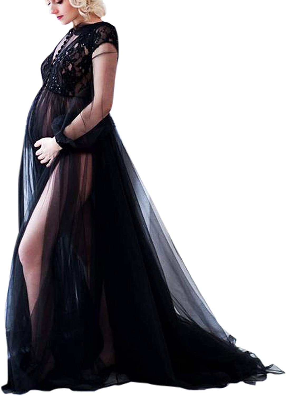 BathGown Women Lace Up Long Sleeve Maternity Dress Ladies Maxi Gown Photography Photo Shoot Clothing Clothes