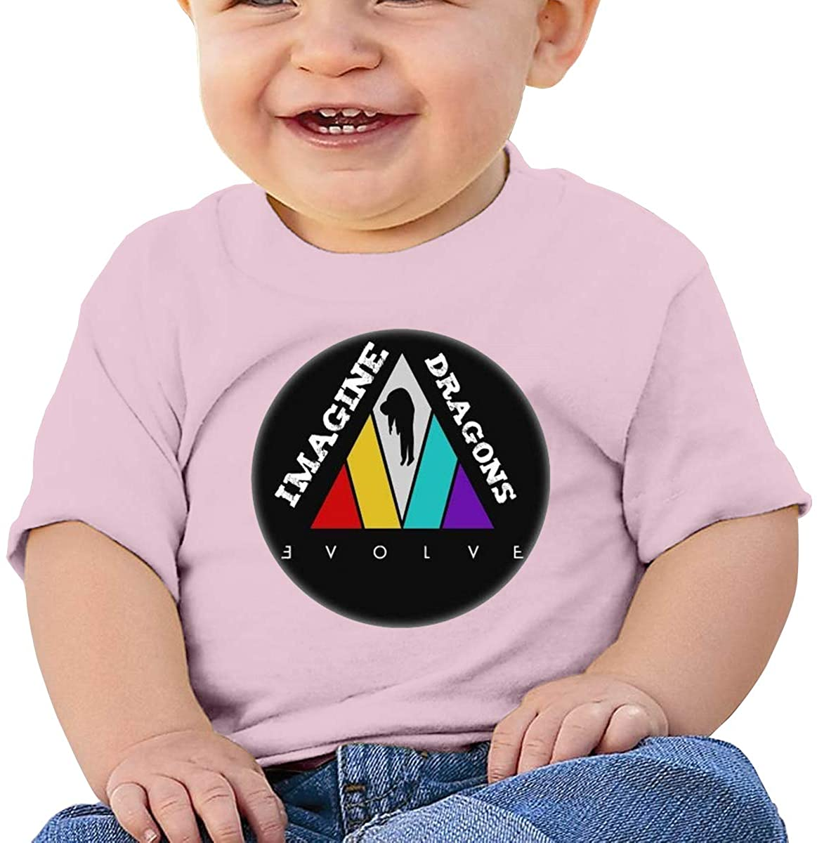 6-24 Months Boy and Girl Baby Short Sleeve T-Shirt Imagine Dragons Elegant and Simple Design Pink