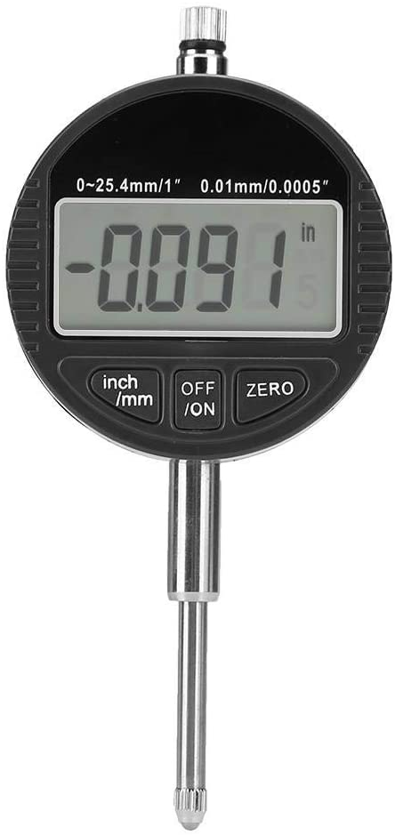 Gulakey Probe Indicator Gauge, Large Screen Digital Probe Indicator Gauge Removable Rear Cover for Machining Measurement Different Magnetic Gauge Bases