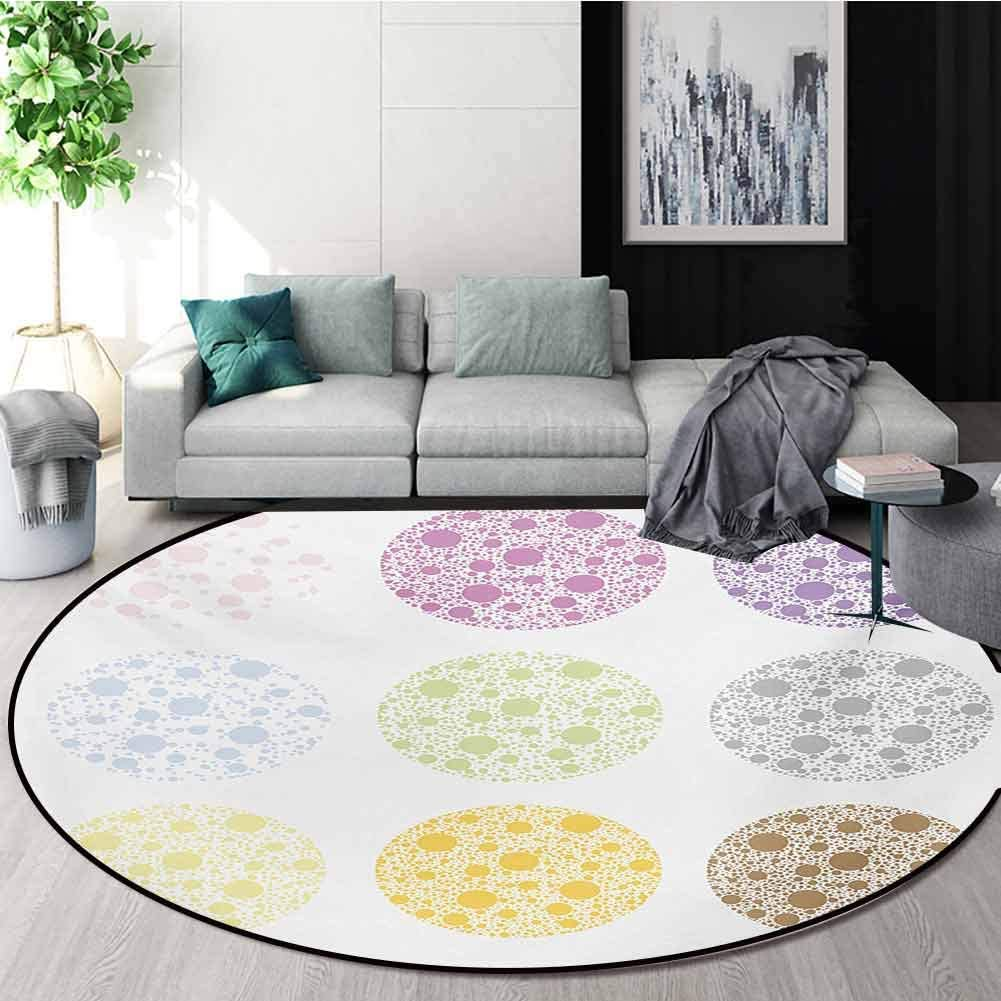 RUGSMAT Polka Dots Rug Round Home Decor Area Rugs,Different Colored Grand Polka Dots Filled with Little Round Figures Pattern Non-Skid Bath Mat Living Room/Bedroom Carpet,Round-51 Inch