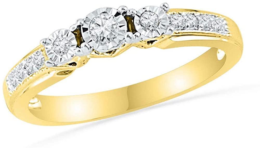 10kt Yellow Gold Round Diamond 3-stone Bridal Wedding Engagement Ring 1/5 Cttw