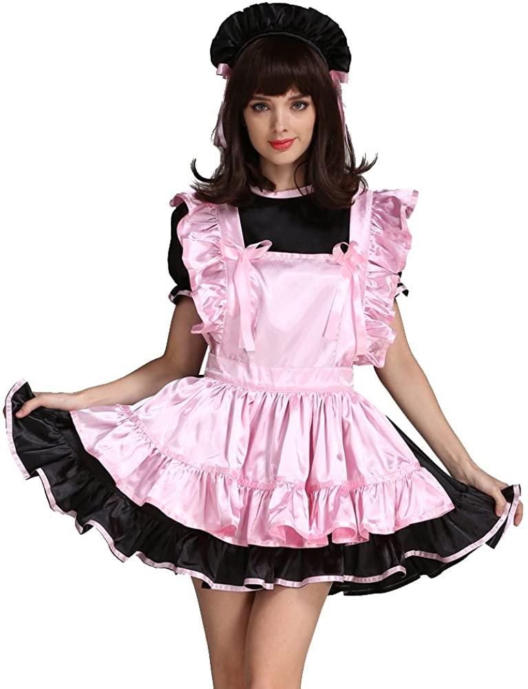 GOceBaby Sissy Girl Maid Pink Black Satin Dress Uniform Costume Crossdressing