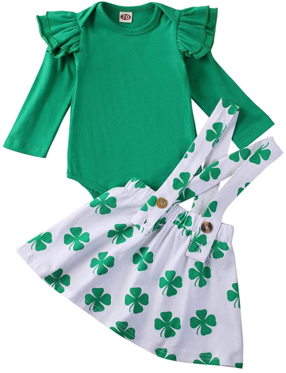 Baby Girl St. Patrick's Day Outfit Ruffle Sleeve Romper Bodysuit Tops Suspender Skirts Overall Clothes Set