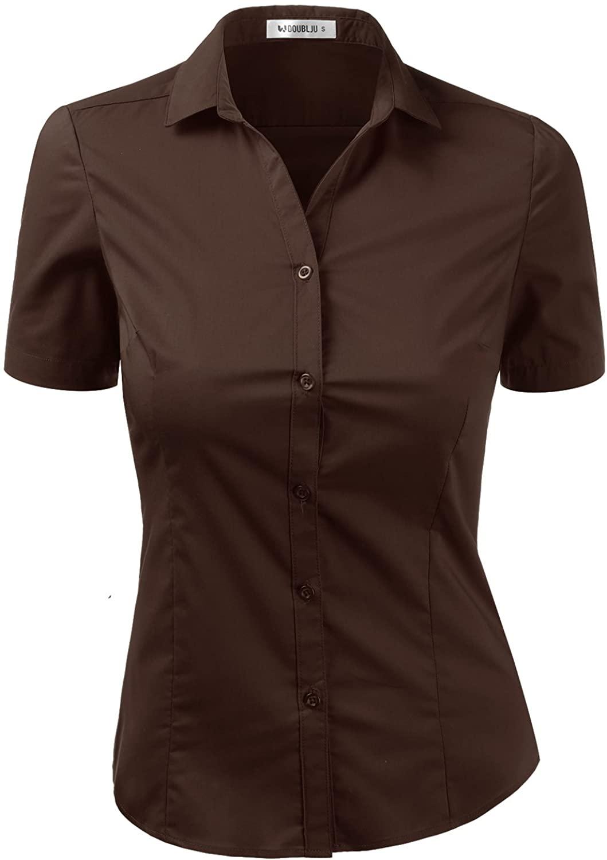 Doublju Women's Slim Fit Plain Classic Short Sleeve Button Down Collar Shirt Blouse