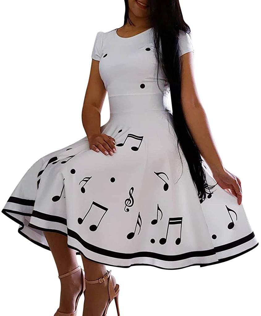 Women Banquet Evening Dress White Musical Note Big Wave Evening Party Dress