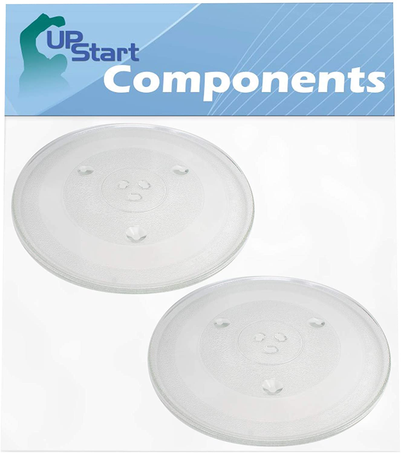 2-Pack P34 Microwave Glass Turntable Plate Replacement for Emerson MW8119SBM - Compatible with P34 12 3/8 Inch Glass Tray