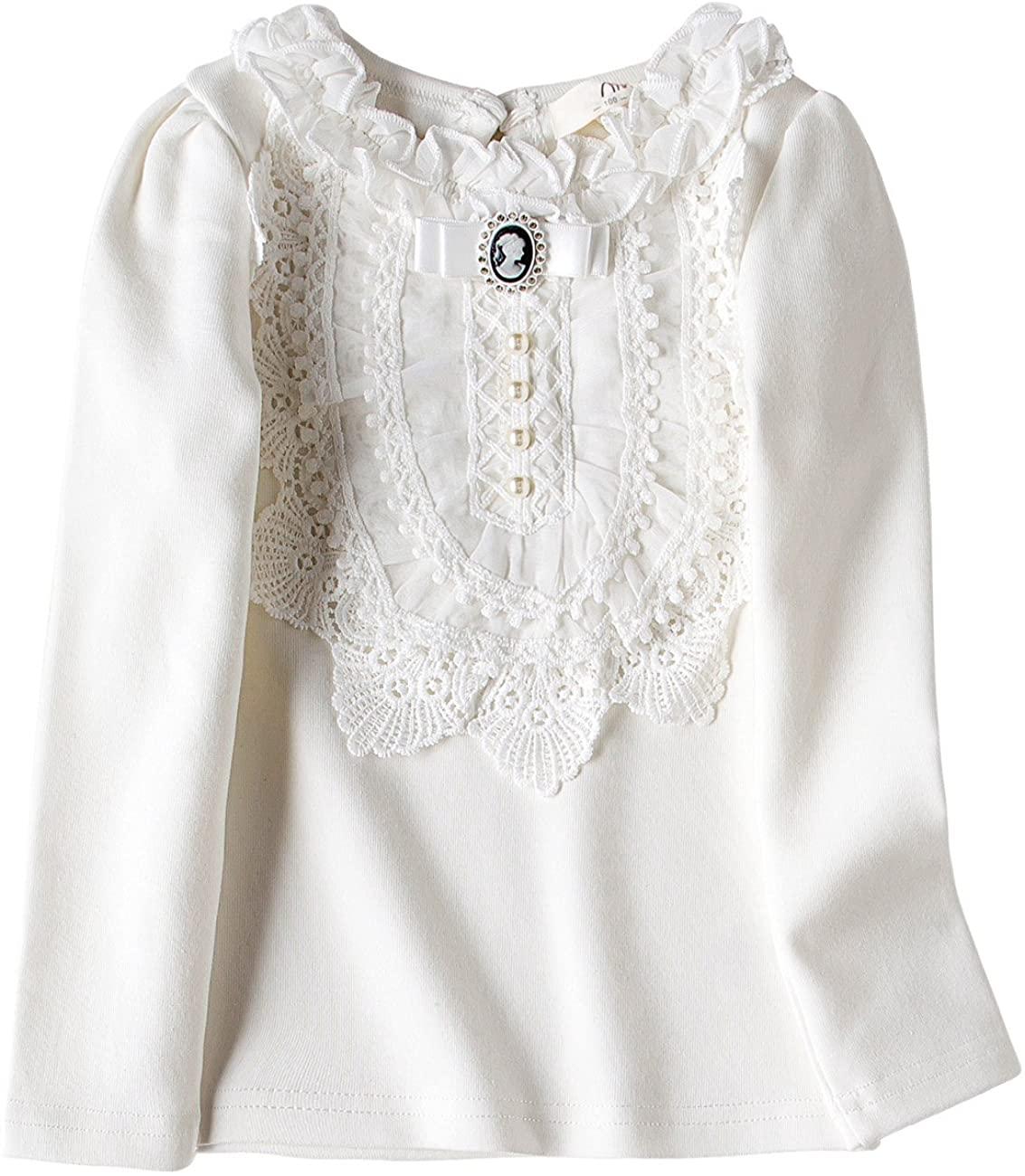 VYU Toddler Little Girls Long Sleeve Blouse 2-8 Years Kids Cotton Warm Shirts White