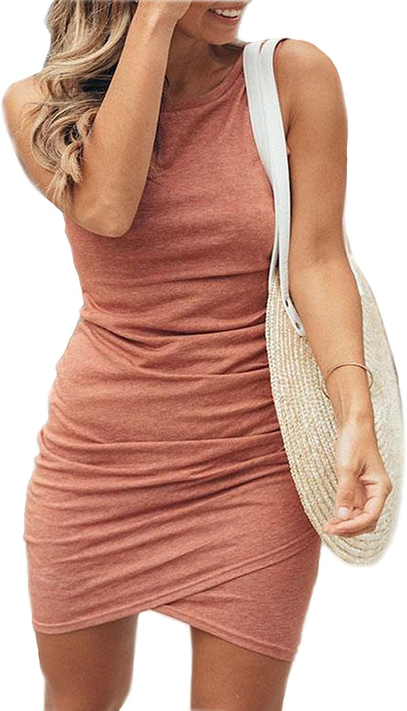 Assivia Women's Work Casual Bodycon Dresses Short Sleeve Pencil Mini T Shirt Dress