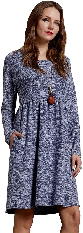 SONJA BETRO Women's Short Sleeve Stripe Knit Cotton Empire Dress Plus Size