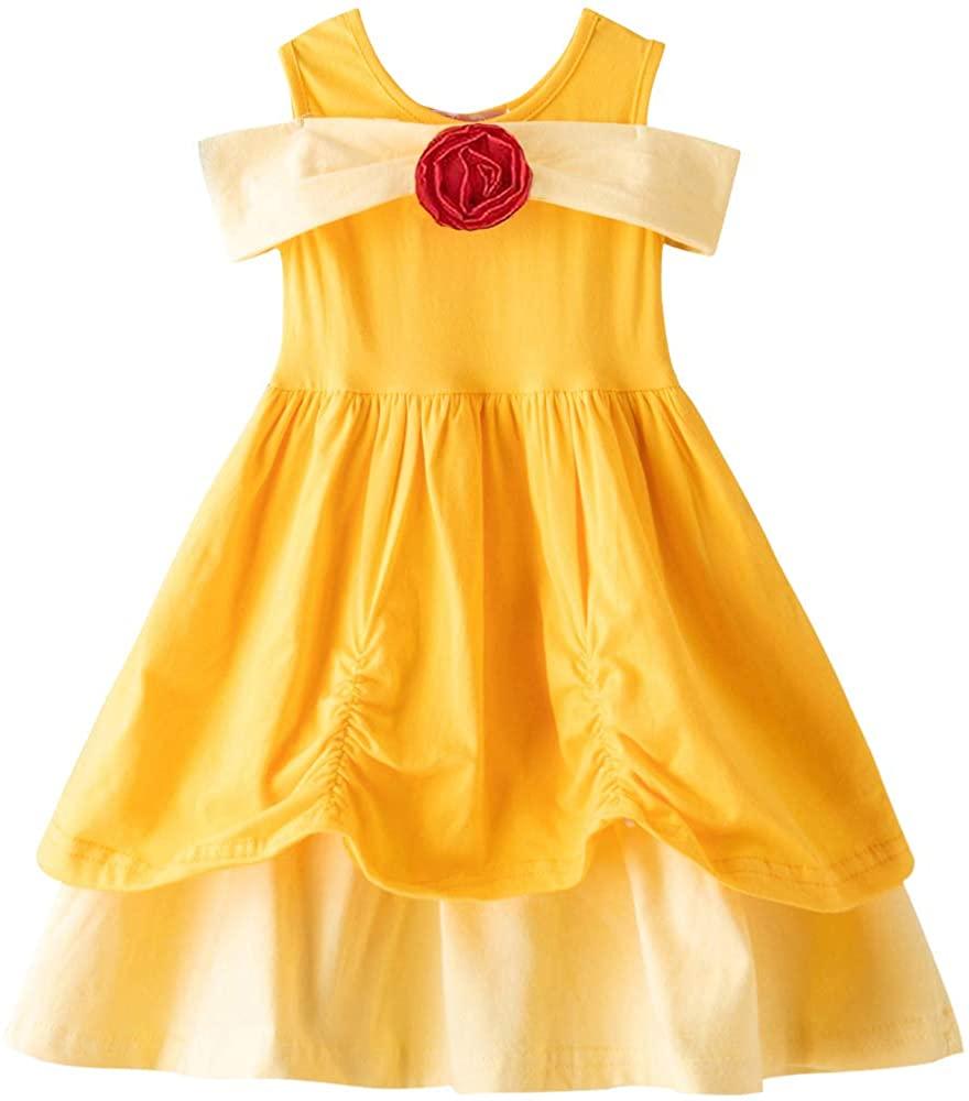 YYoomi Girls' Cotton Dress, Sleeveless Casual Twirl Princess Party Tutu Outfit