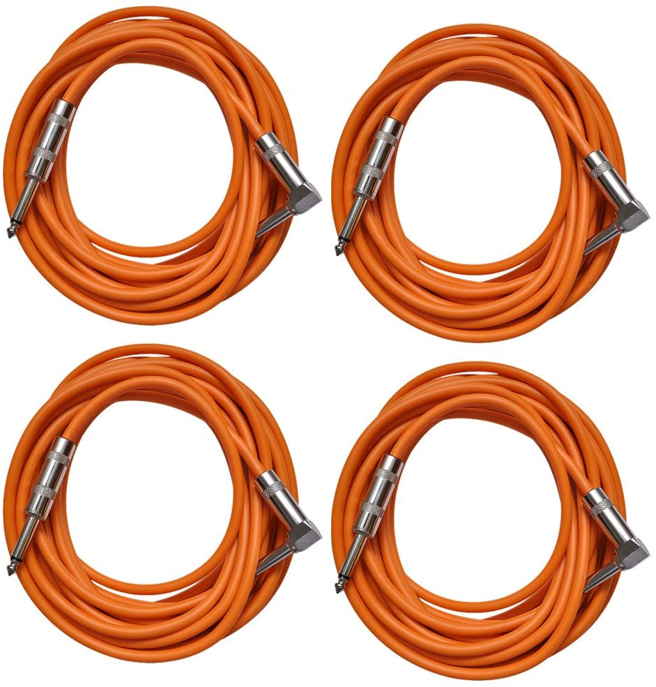 Seismic Audio - SAGC20R-Orange-4Pack - 4 Pack of Orange 20 Foot Right Angle to Straight Guitar Cables - 20' Orange Guitar or Instrument Cables