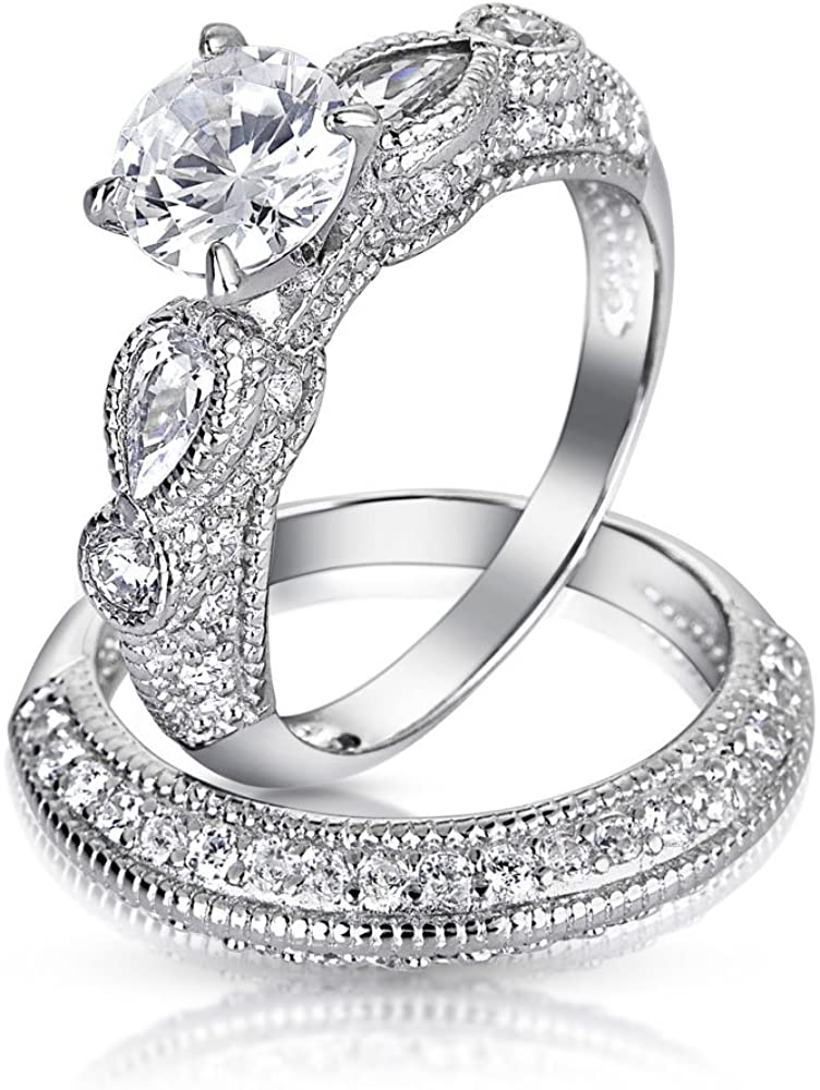 Vintage Style 1.25CT Round Solitaire Filigree AAA CZ Engagement Wedding Band Ring Set For Women 925 Sterling Silver