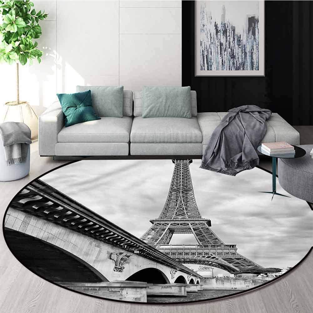 RUGSMAT Eiffel Tower Super Soft Circle Rugs for Girls,Seine River Bridge Living Dinning Room & Bedroom Rugs Diameter-51