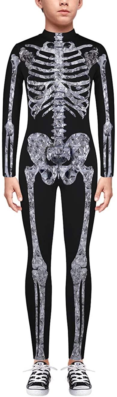 TENMET Boys Girls Skeleton Costume Hallowen Cospaly Bodysuit for Kids 7-14