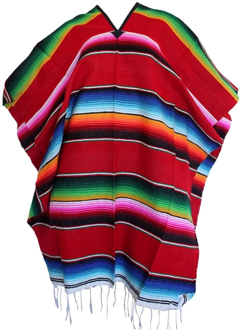 Leos Imports Girls Boys One Size Multi-Color Mexican Zarape Serape Poncho Folklorico