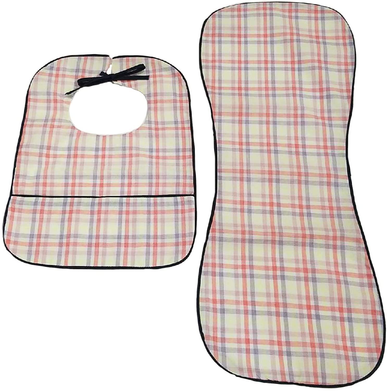 Baby Couture Cotton Burp Cloth and Bib Set Navy Plaid