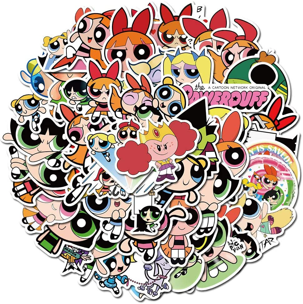 Cartoon Stickers for Cool Teen and Kids, Laptop Water Bottle Luggage Bike Phone Travel Case Skateboard Helmet Computer Vinyl Decal for Childs Girls - The Powerpuff Girls
