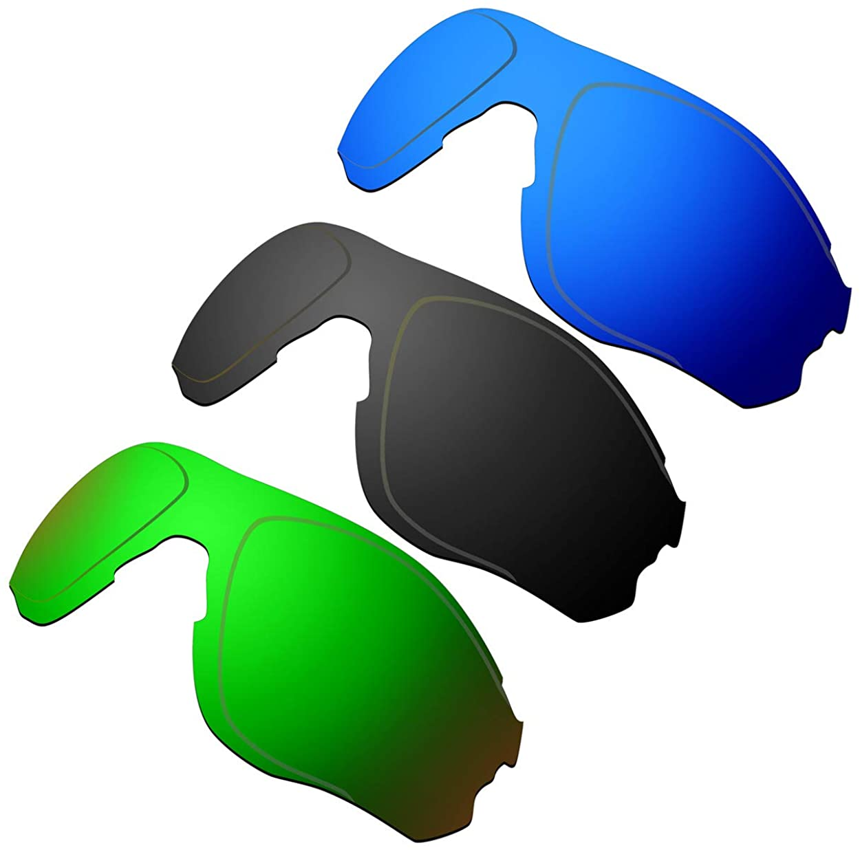 HKUCO Reinforce Replacement Lenses For Oakley EVZero OO9308 Blue/Black/Emerald Green Sunglasses
