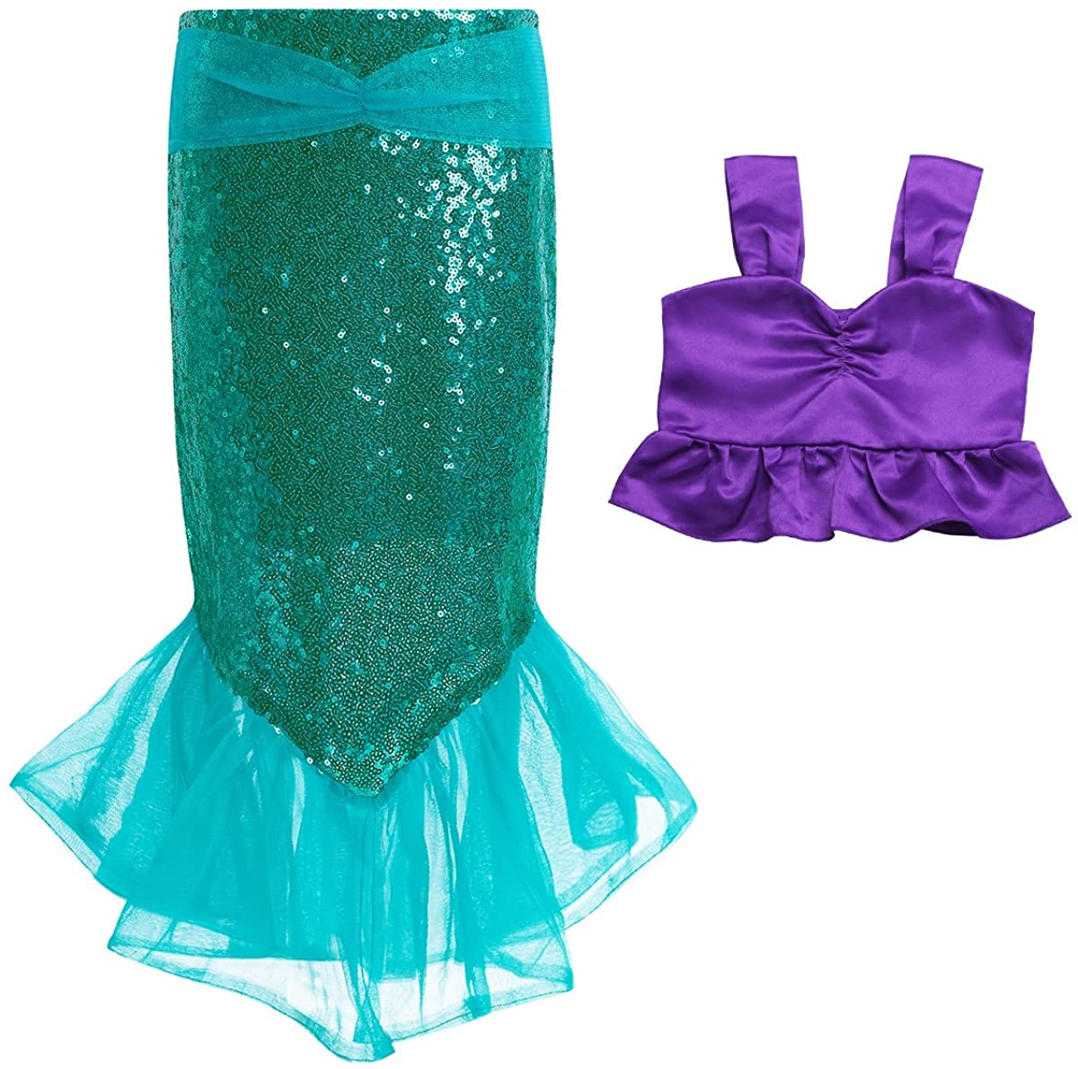 Oyolan Kids Girls 2PCS Shiny Sequins Mermaid Costume Top with Fishtail Skirt Outfit Set