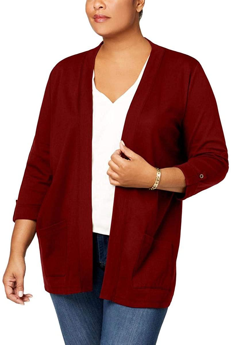 Karen Scott Womens Plus Knit Open Cardigan Sweater