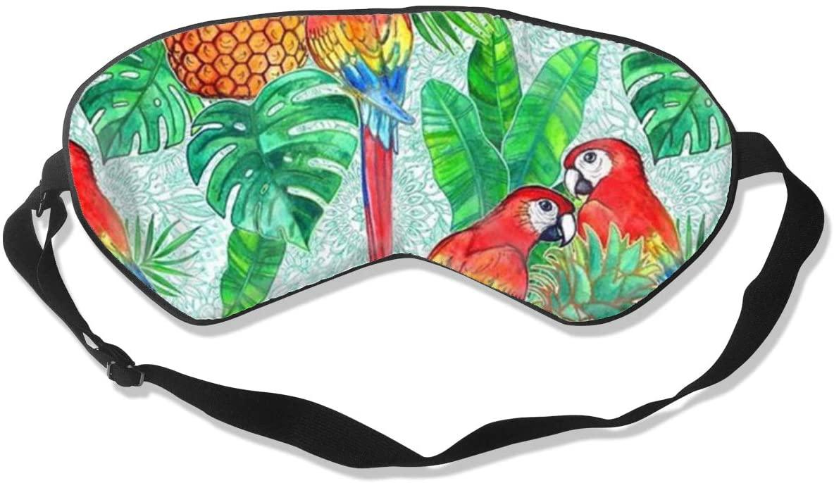 Sleep Eye Mask For Men Women,Pineapples And Parrots Tropical Summer Soft Comfort Eye Shade Cover For Sleeping