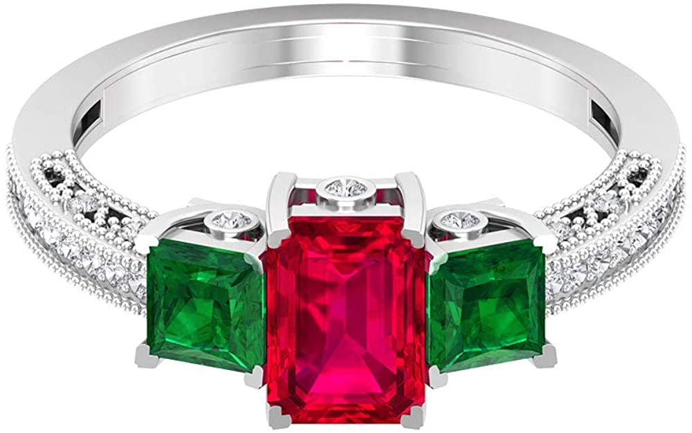 1.25Ct Octagon Shape Ruby Solitaire Engagement Ring, 0.7CtPrincess Cut Emerald Three Stone Ring, 0.20Ct Diamond Gold Ring, SGL Certified Gemstone Ring