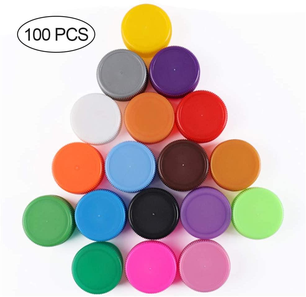 DEXING 100PCS Mixed Plastic Bottle Caps DIY Craft Bottle Cap Craft Bottle Stickers Decorative DIY Pendants for Children Kids Mixed Colors