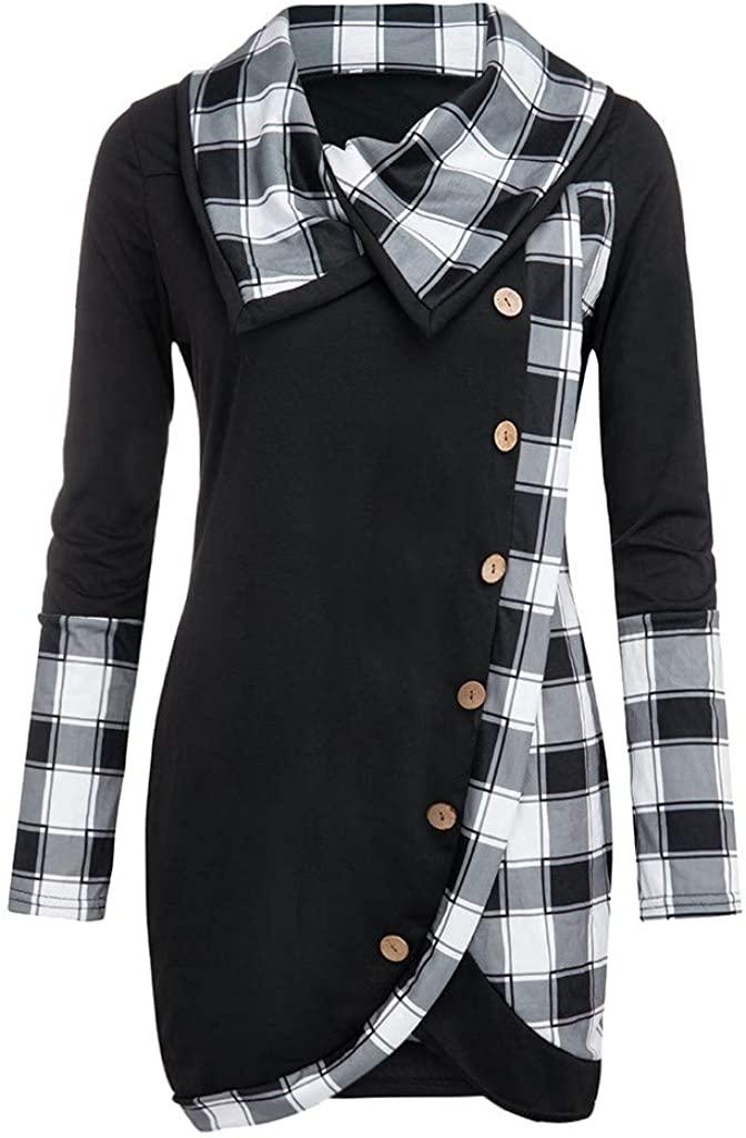 TOTOD 2020 Spring Plaid Tops for Women Turtleneck Pullover Long Sleeve Asymmetrical Hem Tunics T-Shirt