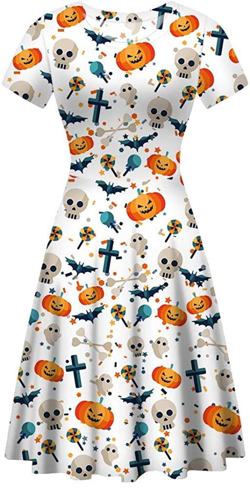 BIGCARJOB Women Casual Short Sleeve A-line Dress Halloween Party Dresses Scoop Neck Midi Dress