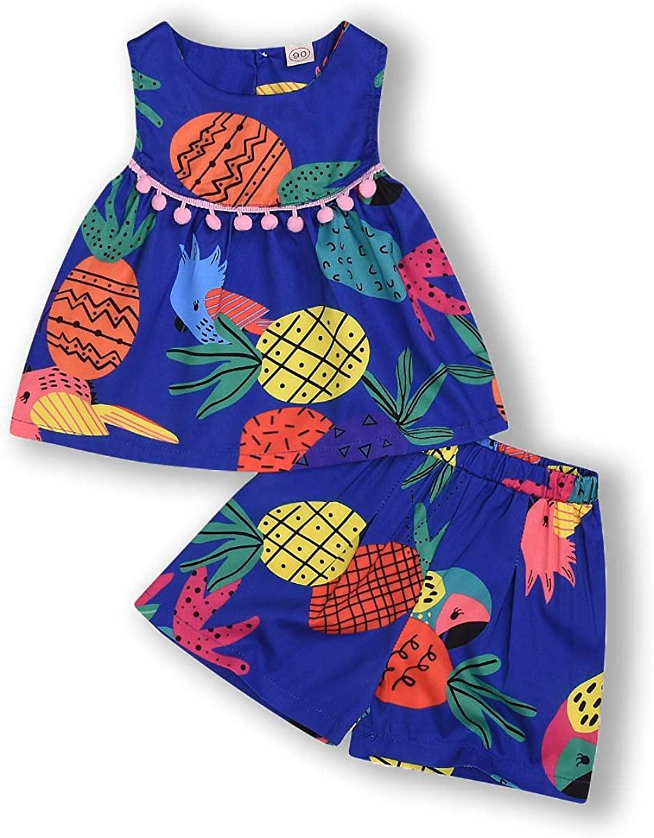 Kids ToddlerBaby Girls Shorts Outfits Set Rainbow Pineapple Ruffle Dress T-Shirt Tops+Short Pants Summer Clothes Set