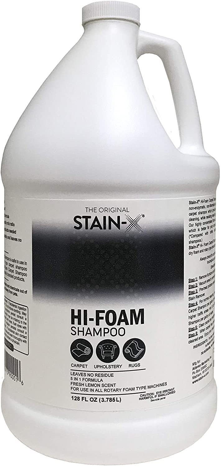 Stain-X Cleaner | Hi-Foam Carpet Shampoo - Effective and Safe Upholstery Shampoo Cleaner for All Rotary Foam Type Machines (128 oz)