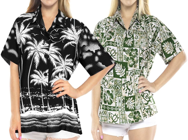 LA LEELA Women's Swim Hawaiian Shirt Short Sleeve Blouse Tops Shirt Work from Home Clothes Women Beach Shirt Blouse Shirt Combo Pack of 2 Size M