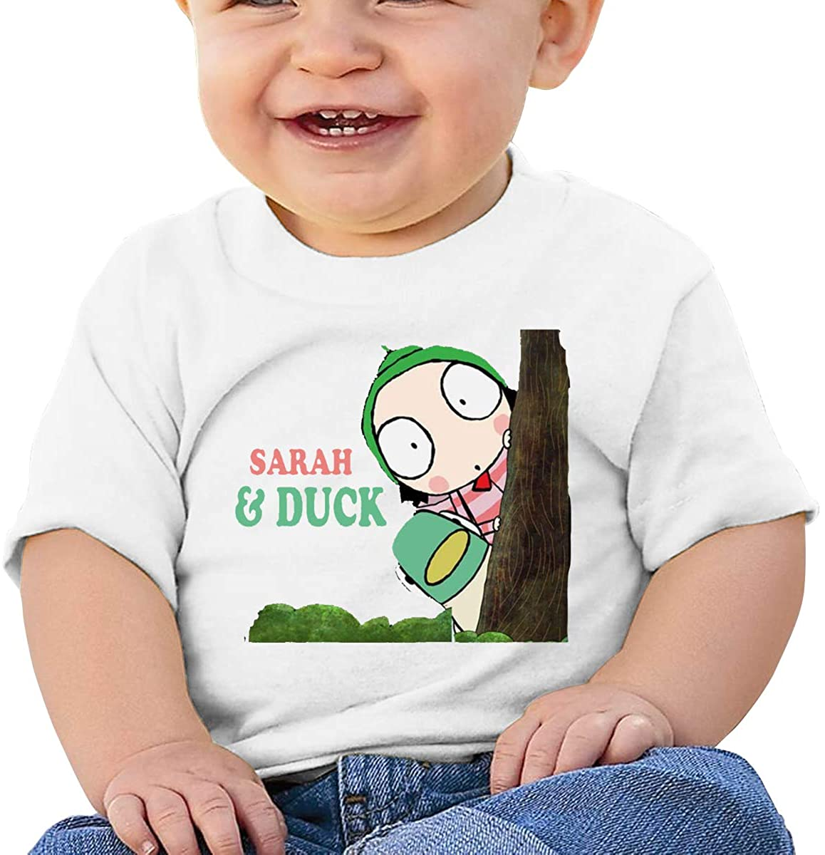 6-24 Months Boy and Girl Baby Short Sleeve T-Shirt Sarah & Duck Logo Elegant and Simple Design White