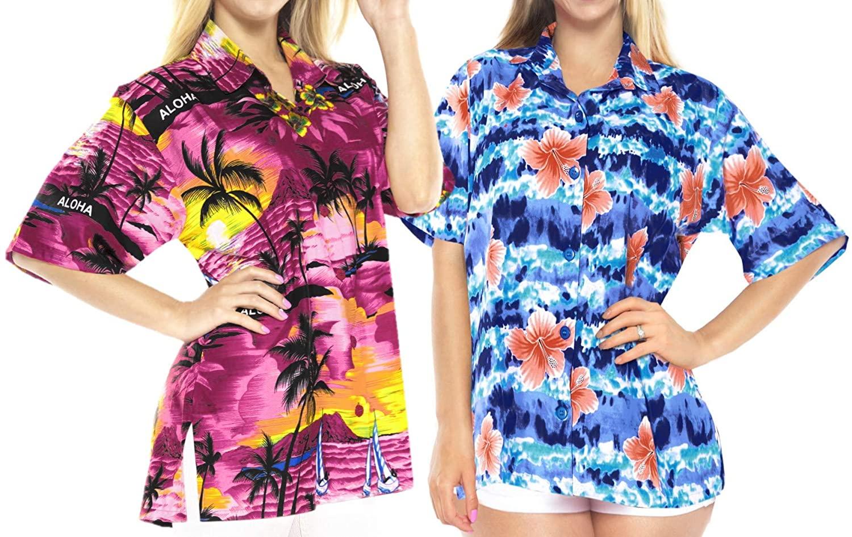 LA LEELA Women's Summer Tropical Hawaiian Blouse Beach Shirt Swimwear L Work from Home Clothes Women Blouse Pack of 2