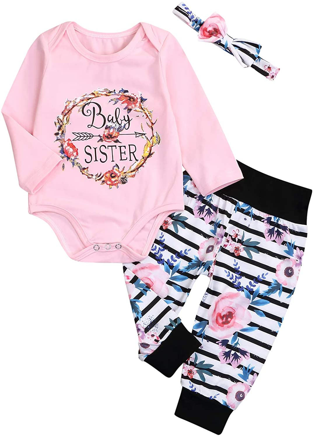 Toddler Baby Girls Outfit Set Long Sleeve Printed Shirts Romper Floral Pant Sets