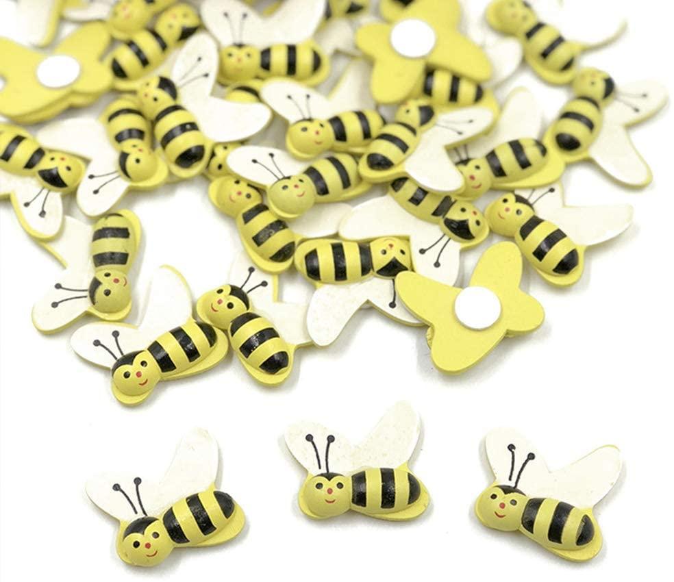 SUPVOX Tiny Wooden Bee Self Adhesive Wood Bumble Bees Flatback Embellishment for Crafts Scrapbooking Diy Party Decor 50pcs