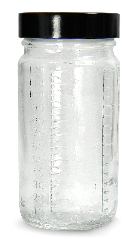 Qorpak GLC-01523 Clear Glass Graduated Medium Round Bottle with 48-400 Black Phenolic Pulp/Vinyl Lined Cap, 51mm OD x 102mm Height, 4oz Capacity (Case of 24)