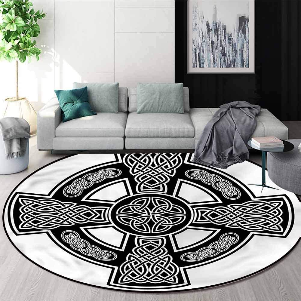 RUGSMAT Celtic Round Area Rug Carpet,Classic Form Linked Lines Non-Slip Bathroom Soft Floor Mat Home Decor Diameter-59
