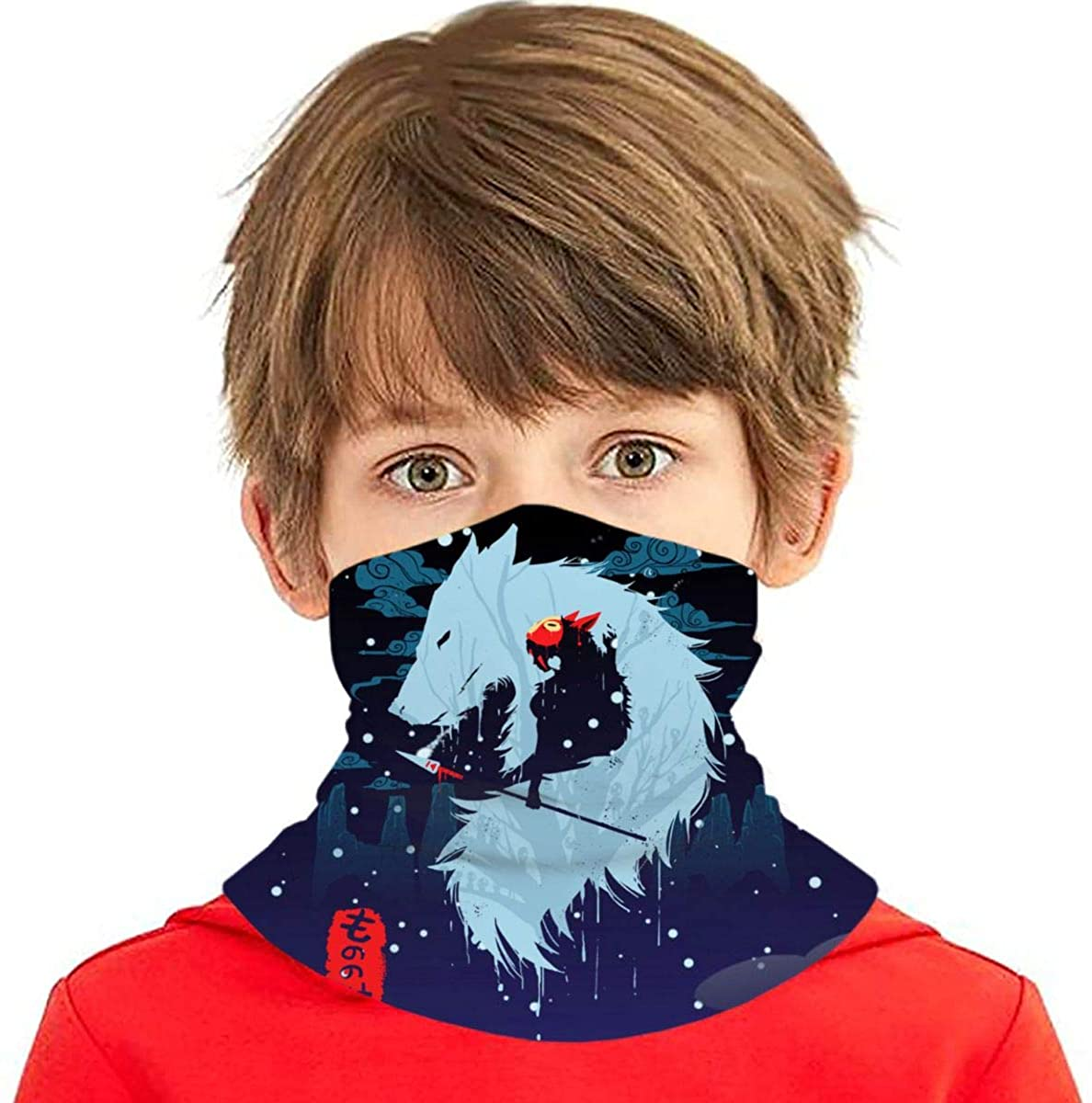 Princess Mononoke Kids Bandana Ear Loops Neck Gaiter Scarf Dust Uv Protection For Boys Girls