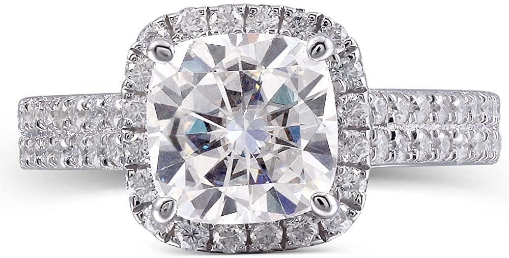 TransGems Platinum Plated Silver 2.5CTW 7.5mm G-H-I Color Cushion Cut Moissanite Engagement Rings with Accents for Women 2.7mm Band Width(7.5)