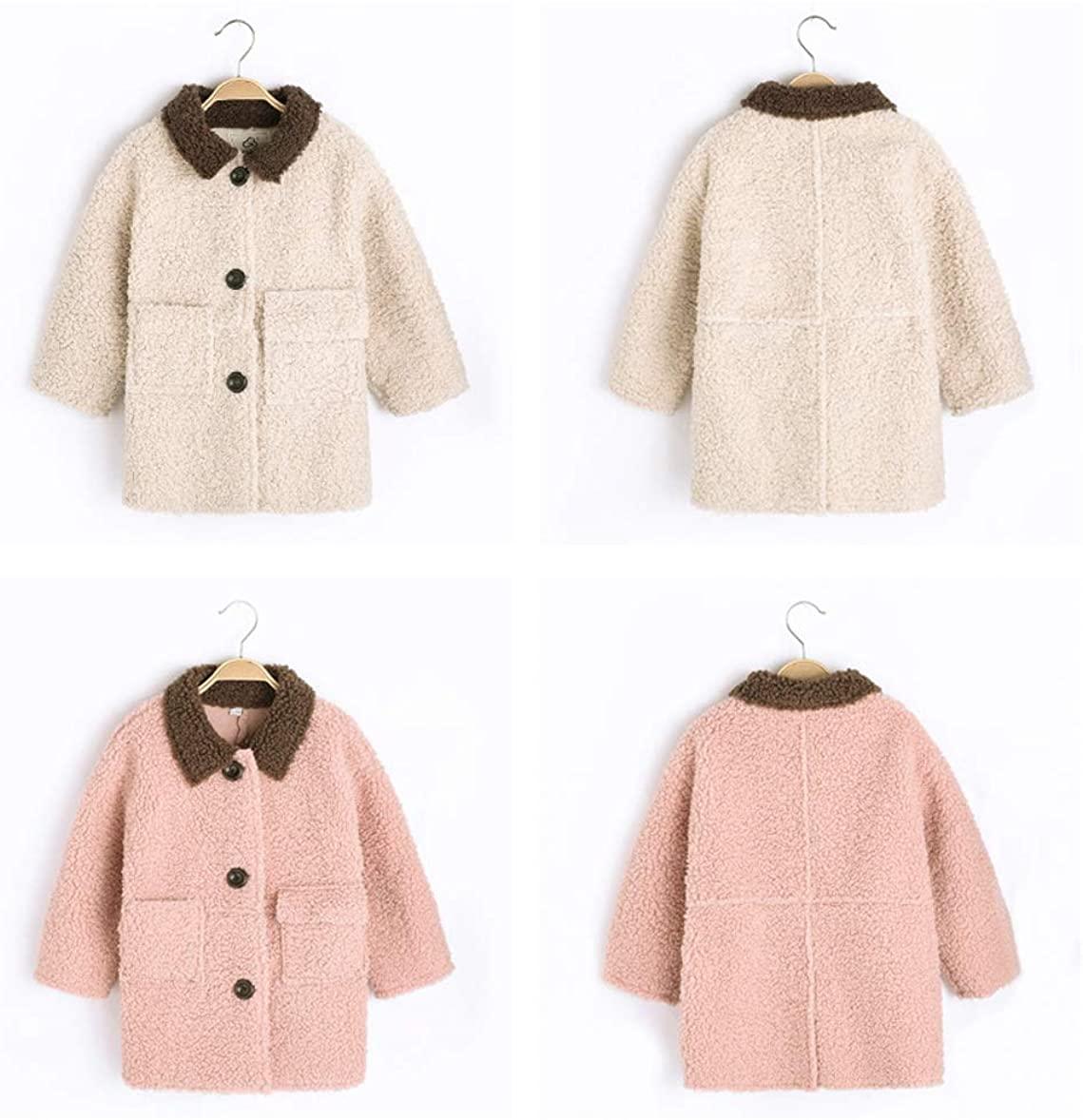 Girls Winter Lamb Fur Coat Deerskin Windbreaker Wool Coat