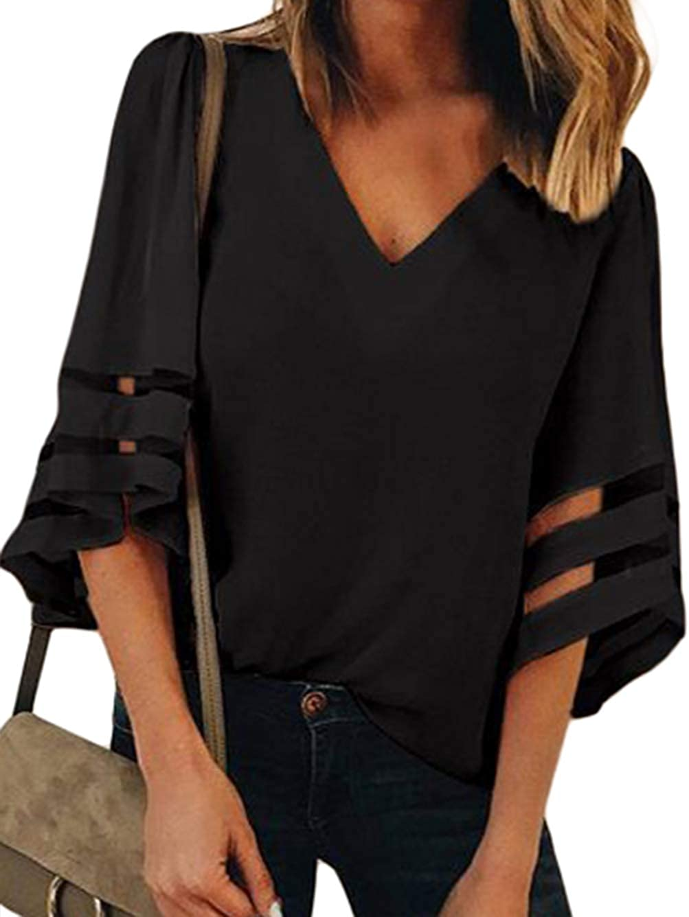 Famulily Women's V Neck Shirt 3 4 Bell Sleeve Mesh Patchwork Casual Loose Summer Tops Blouse