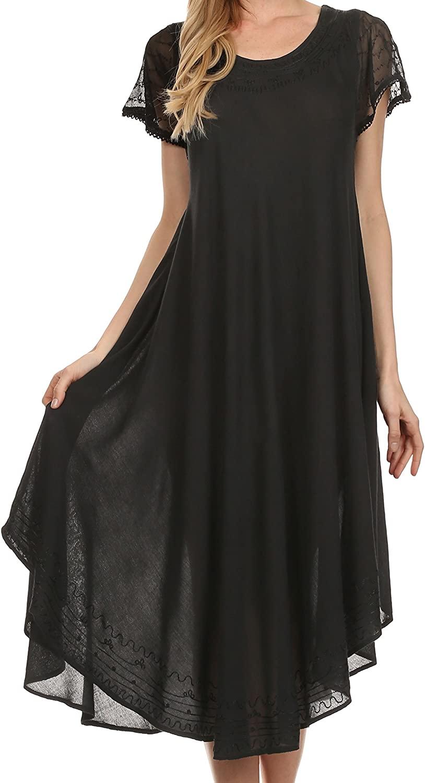 Sakkas Everyday Essentials Cap Sleeve Caftan Dress/Cover Up