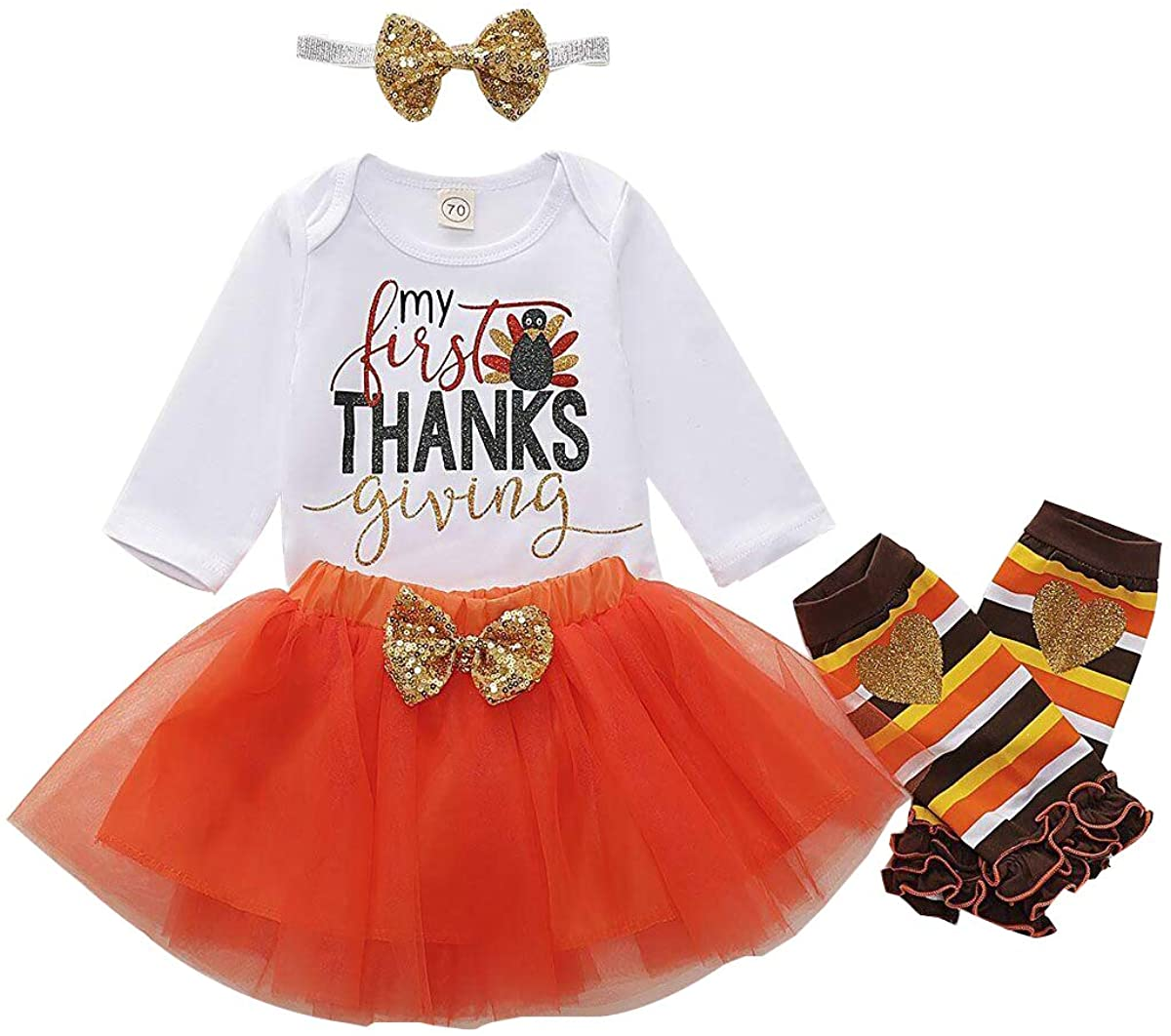 Baby Girl My First Thanksgiving Outfit Turkey Letter Print Romper+Tutu Skirt+Leg Warmers+Headband 4pc Clothes Set
