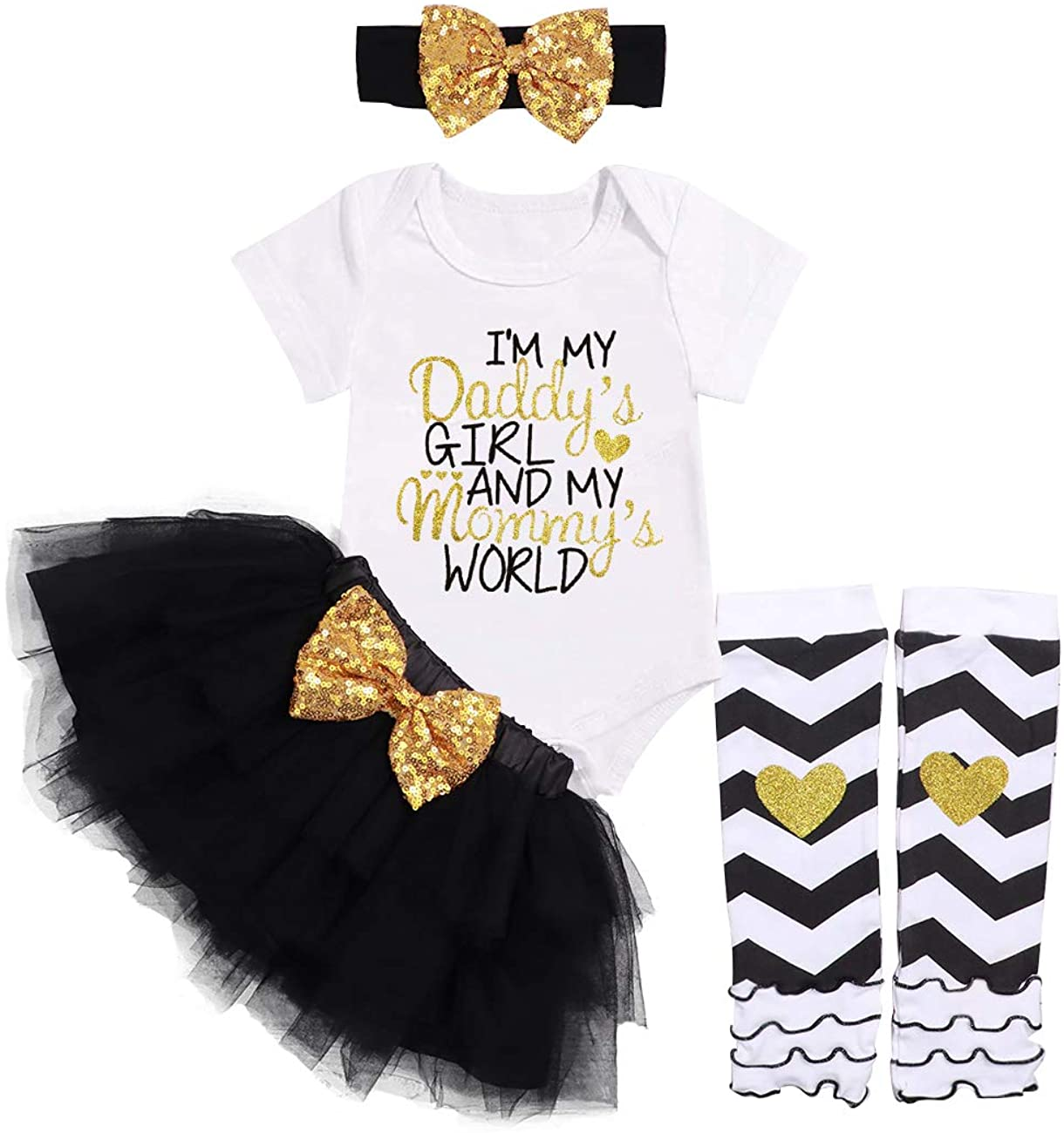 Newborn Baby Girl Clothes Daddy Mommy Short Sleeve Bodysuit Tulle Sequin Tutu Skirt with Headband Legging 4PC Outfit Set