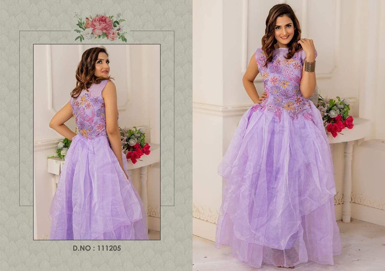Lavender Net Evening Party Women Tulle Gown Hand Work Prom Dress Night Gown Cocktail Outfit R9 (6)