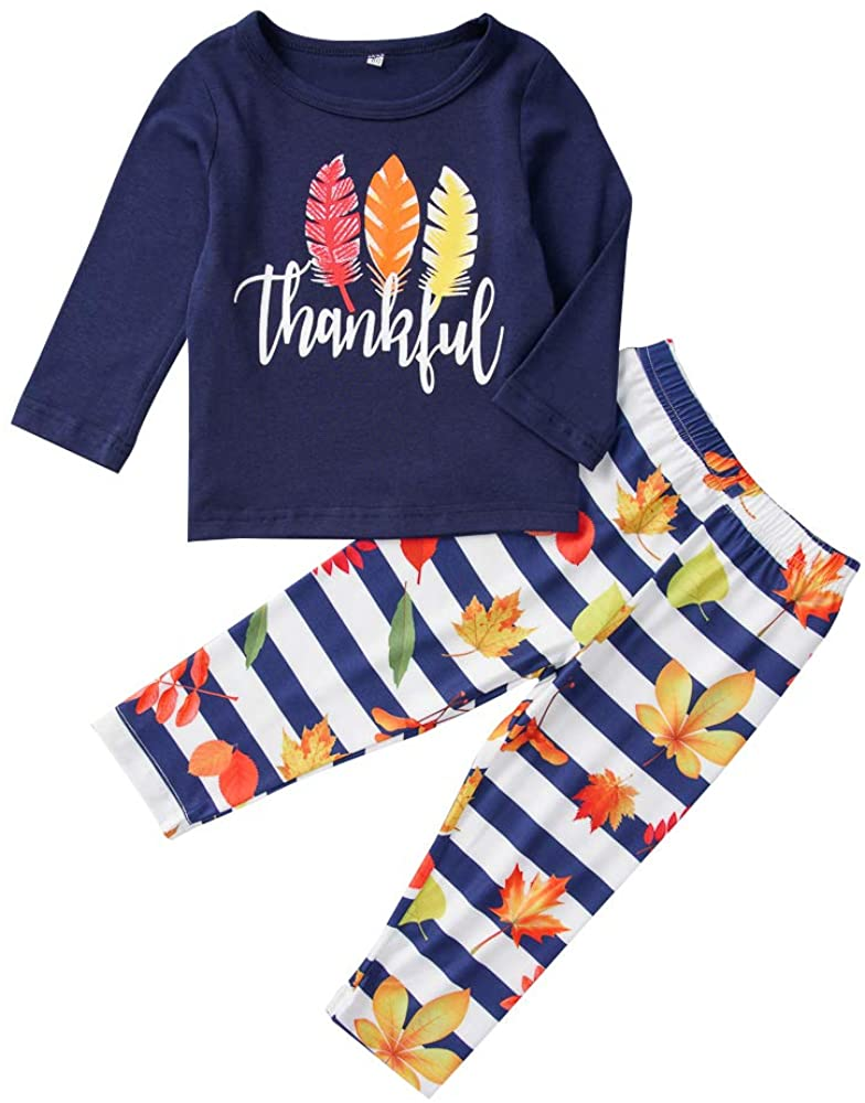 Toddler Kids Baby Girl Boys Thanksgiving Outfit Thankful Letter Printed T-Shirt Top Maple Leaf Stripe Pants Clothing Sets