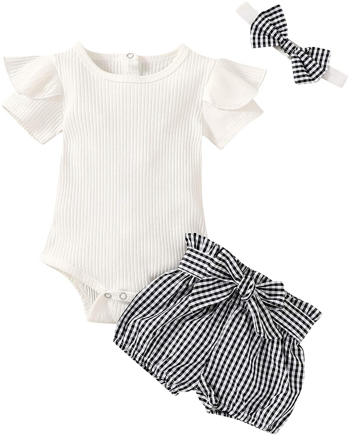 Newborn Infant Baby Girl Summer Outfits Set Short Sleeve Romper and Plaid Shorts with Bowknot
