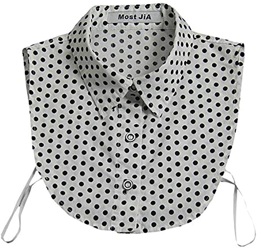 LANGUGU Stylish Detachable Half Shirt Blouse Cotton False Collar Polka Dot Print Fake Collar Dickey Collar