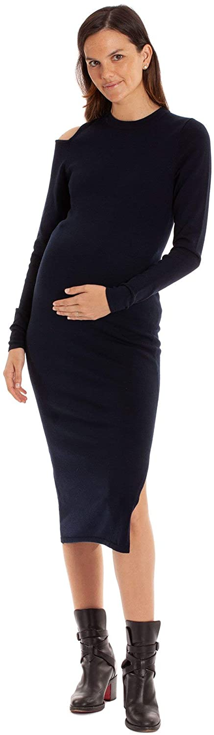 Aniche - The Jessica Dress, Knit Women's Crew Neck Cold Shoulder Fitted Maternity and Beyond Dress